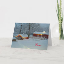 Peace Winter Farm Scene Christmas Card