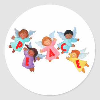 Peace with Angels Classic Round Sticker