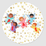 Peace with Angels Round Stickers