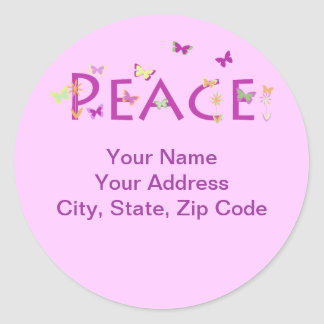 Peace with butterflies & flowers classic round sticker