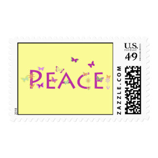 Peace with butterflies & flowers postage stamp