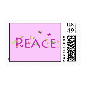 Peace with butterflies & flowers stamp