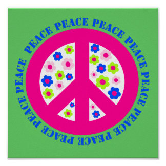 PEACE WITH FLOWERS POSTER