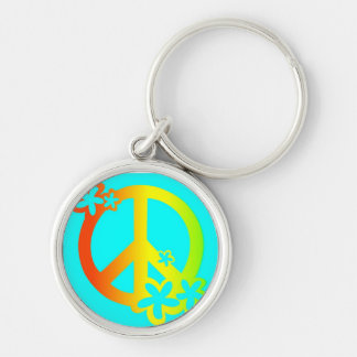 peace with flowers rasta colors Key chain