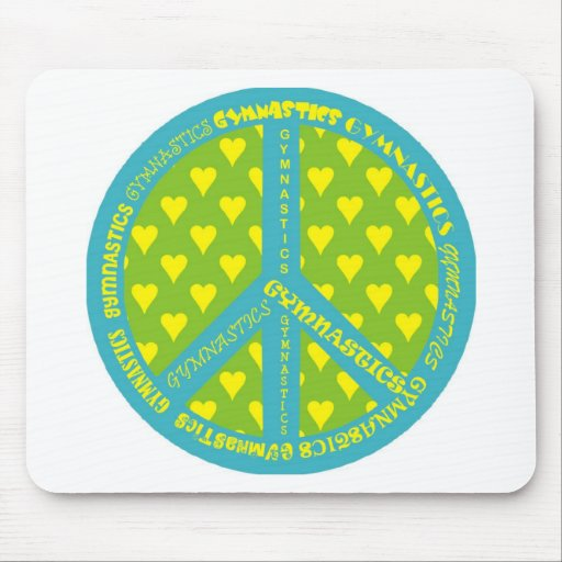 Peace with Gymnastics in frame Mouse Pads