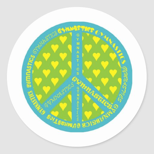 Peace with Gymnastics in frame Stickers