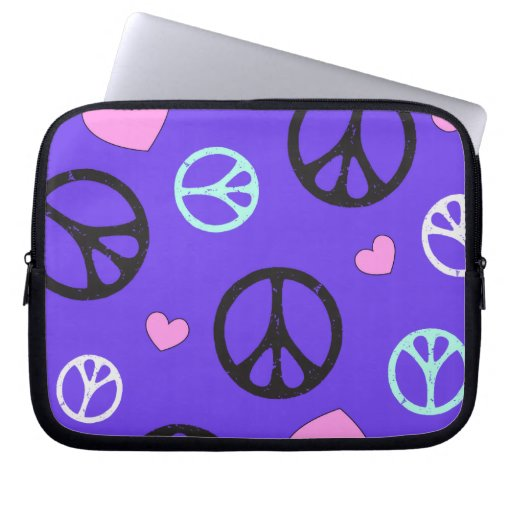 peace with hearts allover laptop sleeves