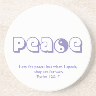Peace-with Quote from Scripture Drink Coaster
