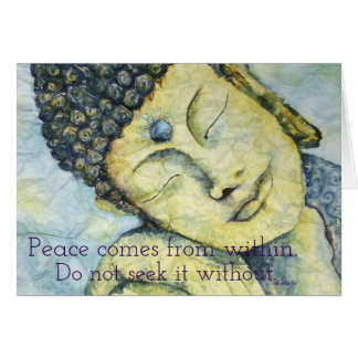 Peace Within Buddha Watercolor Art Greeting Card
