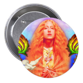 Peace Woman with Dove Button