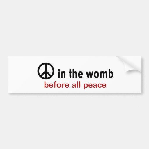 peace:womb car bumper sticker