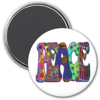 Peace Word Art 3 Inch Round Magnet