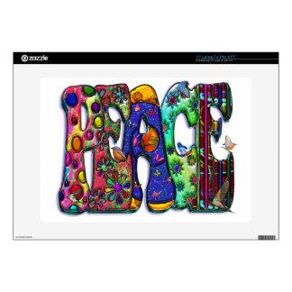 """Peace Word Art Birds and Butterflies 15"""" Laptop Decal"""