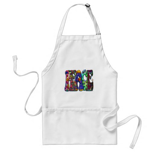 Peace Word Art Birds and Butterflies Adult Apron