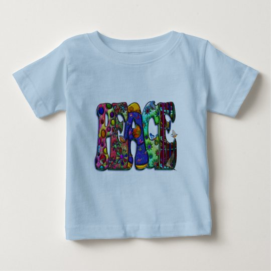 Peace Word Art Birds and Butterflies Baby T-Shirt