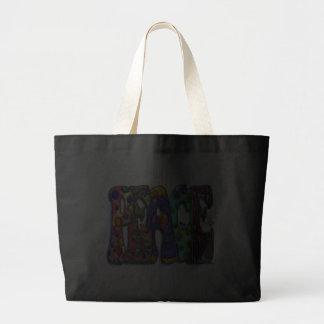 Peace Word Art Birds and Butterflies Jumbo Tote Bag