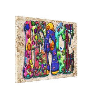 Peace Word Art Birds and Butterflies Canvas Print