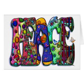 Peace Word Art Birds and Butterflies Greeting Card
