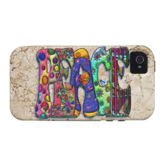 Peace Word Art Birds and Butterflies Vibe iPhone 4 Cases