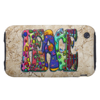 Peace Word Art Birds and Butterflies Tough iPhone 3 Cover