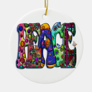 Peace Word Art Birds and Butterflies Double-Sided Ceramic Round Christmas Ornament