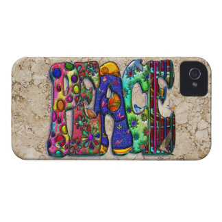 Peace Word Art Birds and Butterflies iPhone 4 Case-Mate Cases