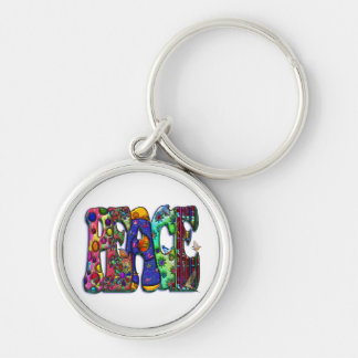 Peace Word Art Birds and Butterflies Silver-Colored Round Keychain