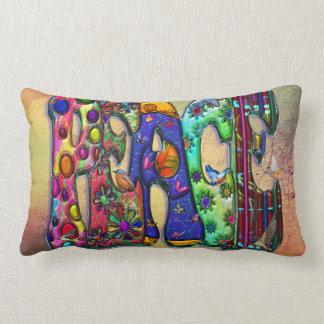 Peace Word Art Birds and Butterflies Lumbar Pillow