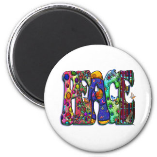 Peace Word Art Birds and Butterflies 2 Inch Round Magnet