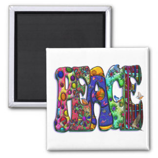 Peace Word Art Birds and Butterflies 2 Inch Square Magnet