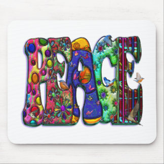 Peace Word Art Birds and Butterflies Mouse Pad