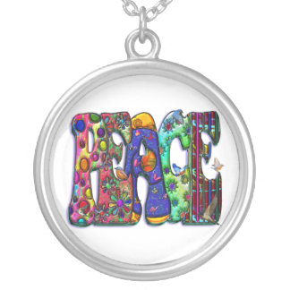 Peace Word Art Birds and Butterflies Round Pendant Necklace