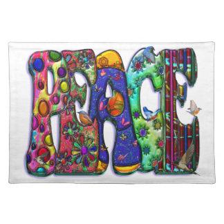 Peace Word Art Birds and Butterflies Cloth Placemat