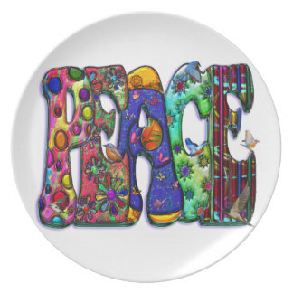 Peace Word Art Birds and Butterflies Party Plates