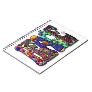 Peace Word Art Birds and Butterflies Spiral Notebook