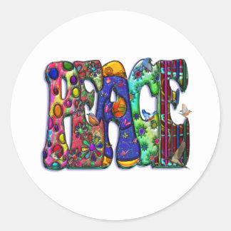 Peace Word Art Birds and Butterflies Classic Round Sticker