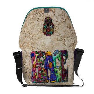 Peace Word Art Birds Butterflies & Floral Skull Courier Bags
