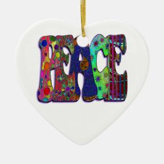 Peace Word Art Double-Sided Heart Ceramic Christmas Ornament