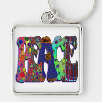 Peace Word Art Keychain