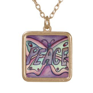 Peace Word Purple Butterfly Art Jewelry Necklaces