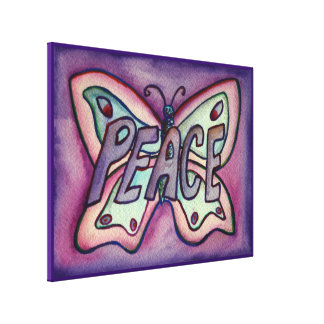 Peace Word Purple Butterfly Canvas Art Painting