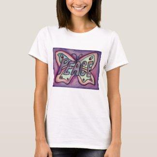 Peace Word Purple Butterfly Custom Art T-Shirts