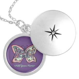 Peace Word Purple Butterfly Custom Name Lockets