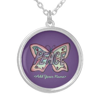 Peace Word Purple Butterfly Custom Name Necklaces