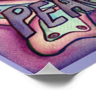 Peace Word Purple Butterfly Poster Art Prints
