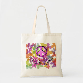 Peace Word Symbol and Butterflies Budget Tote Bag