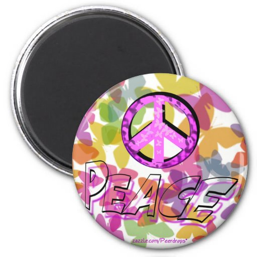 Peace Word Symbol and Butterflies Fridge Magnets