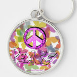 Peace Word Symbol and Butterflies Key Chain
