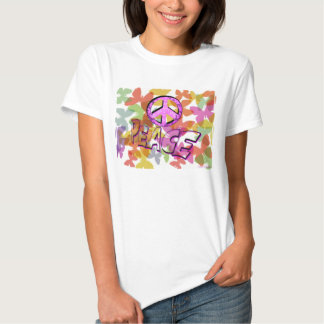 Peace Word Symbol and Butterflies Tee Shirt