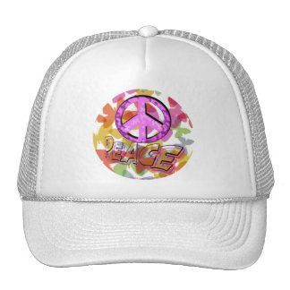 Peace Word Symbol and Butterflies Trucker Hat